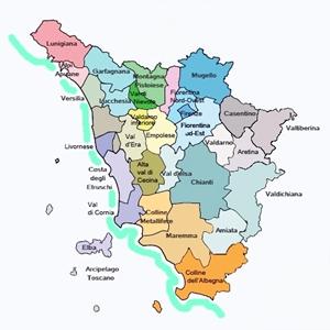 cartina grografica delle zone del territorio toscano