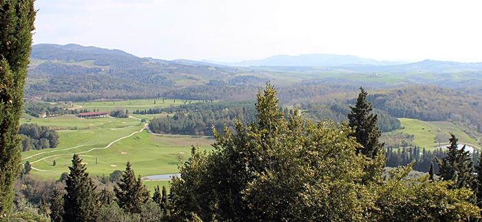 Vista panoramarica del Golf Club di Castelfalfi