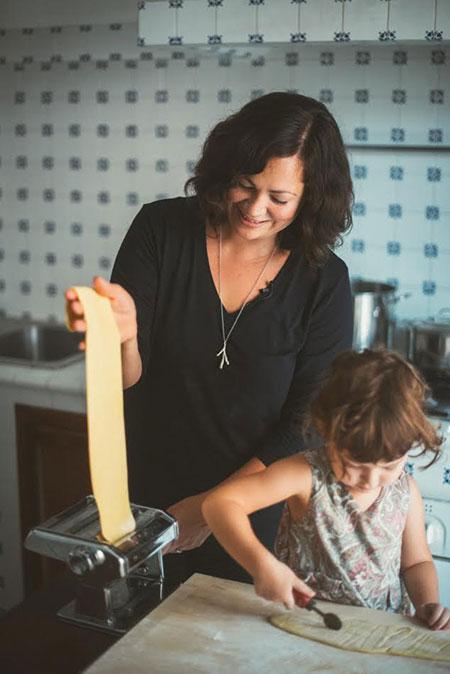 Emiko Davies and her daughter making pasta