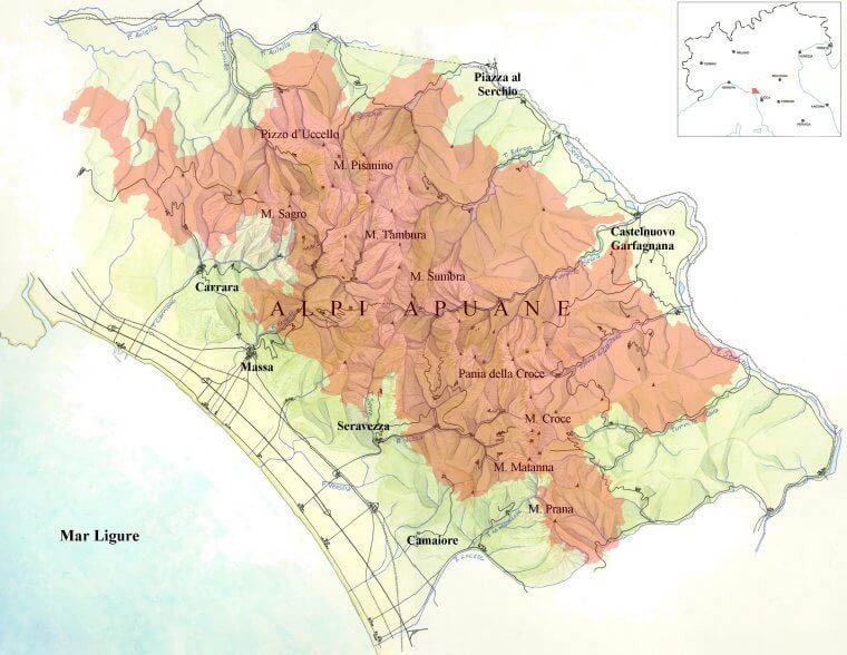 Alpi Apuane mappa