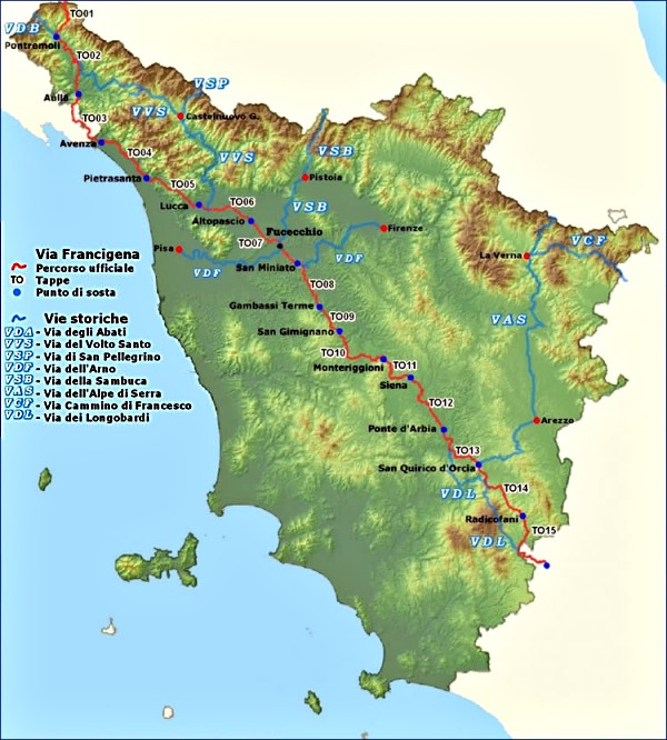 Vai Francigena 15 Tappe in Toscana